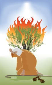 Moses Bent Down infront of the Burning Bush as God Speaks